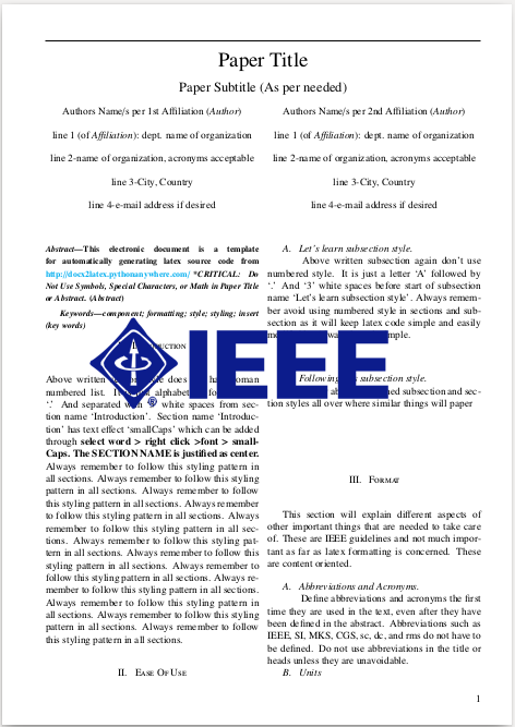 Docx2latex for Ieee paper format template download